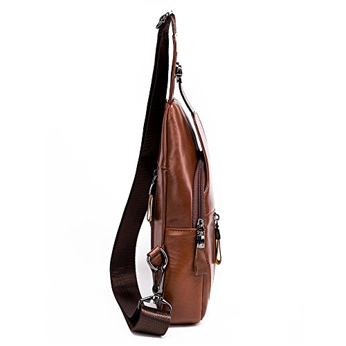 86 Mens light brown1 Bag Shoulder Cross Backpack Sling Bullcaptain Leather Brown Brown Leathario Chest Body F6vqqZA5n