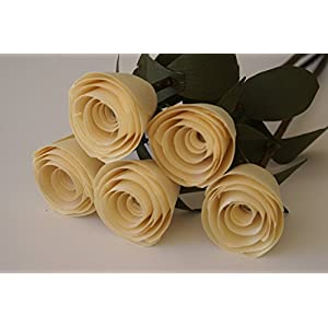5 Wood roses on branch for Birthday or 5th Anniversary gift, Romantic gift for her, Handmade, 4