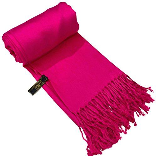CJ Apparel Hot Pink Solid Color Design Shawl Scarf Wrap Pashmina (Hot Pink Pashmina Scarf)