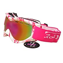 Rayzor Professional UV400 Double Lensed Ski / SnowBoard Goggles, With a Matt Pink Camouflage Frame with a Vented Anti Fog Coated, Pink Iridium Mirrored Anti-Glare Clarity Wide Vision Lens