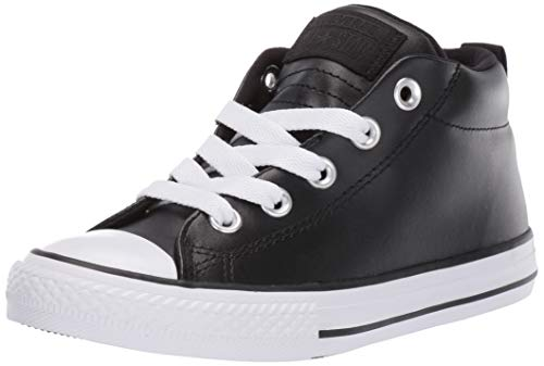 (Converse Boys Kids' Chuck Taylor All Star Street Leather Mid Top Sneaker Black/White, 1 M US Little)