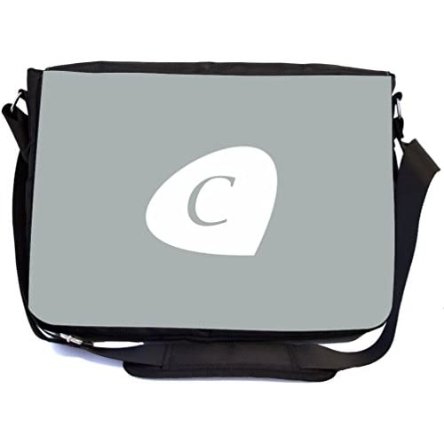 "Rikki Knight Letter ""C"" Initials Paloma Grey Color Petal Leaves Design, Messenger School Bag (mbcp-cond43415)"