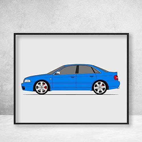 Audi S4 / RS4 (B5 8D) (1997-2002) Poster Print Wall Art Decor Handmade (Audi A4)