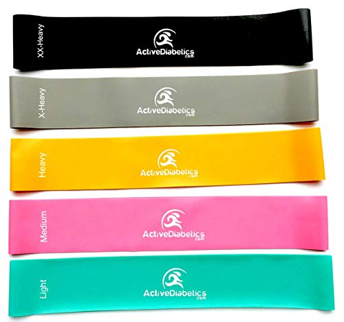 Resistance Exercise Bands for Home Fitness. Set of 5 Different Strengths Stretching Bands To Do Strength Training, Build Muscle, Lose Weight. Physical Therapy Pilates Workout Flexbands 12x2