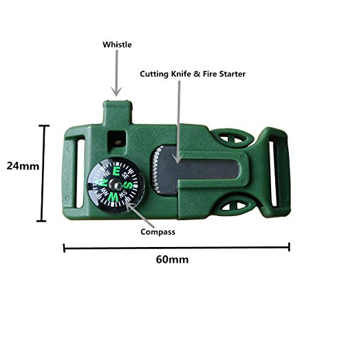 OTLIVE-Survival-Kit-Emergency-Whistle-Buckle-Whistle-Fire-Starter-Compass-Green-Pack-of-2