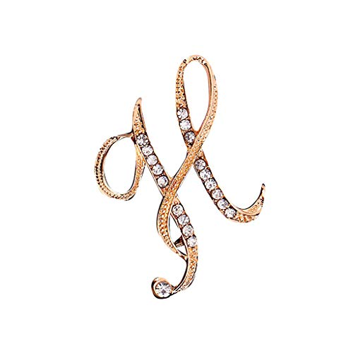 Haluoo A-Z 26 Letters Brooch Pin Gold Plated Metal Pins -Clear Crystal Rhinestones Initial Breastpin Badge Coat Dress Decor Jewelry Fashion Brooches (1pcs-H, Gold)