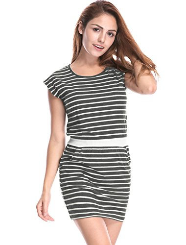 Women's White Mini Waist Gray Contrast Stripes Round K Pockets Allegra Dress Neck 1Hqgx5wnP