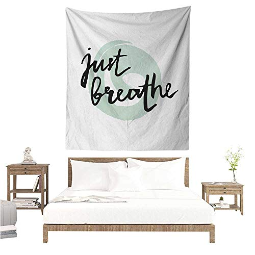 y Just Breathe Inspirational Positive Saying with Modern Brush Calligraphy Art 40W x 60L INCH Suitable for Bedroom Living Room Dormitory ()