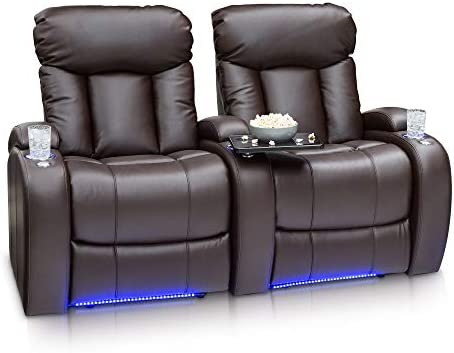 Seatcraft Orleans Home Theater Seating Power Recline Leather Gel Row of 2, Brown