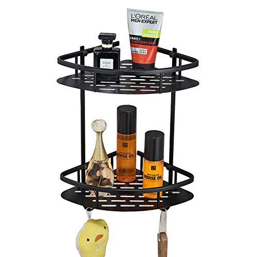 Rozin Wall Mounted 2 Tiers Bathroom Shower Corner Shelf Kitchen Commodity Holder Black Color by Rozin