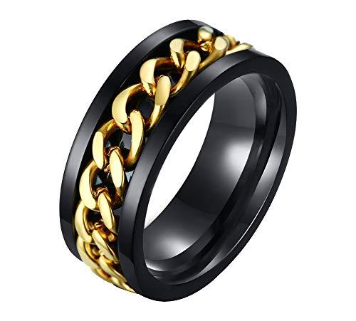 FANSING Mens Spinner Ring, Fidget Rings, Stainless Steel Band, Gold, Size 9