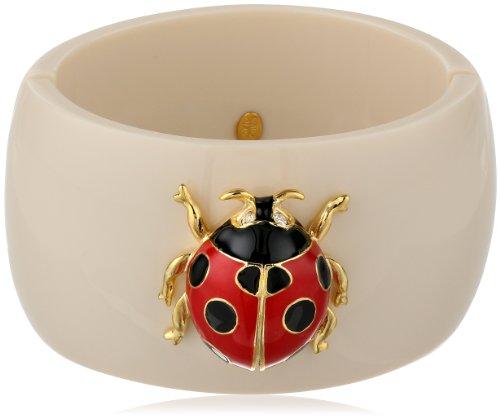 Kenneth Jay Lane Ivory Red and Black Spots Ladybug Cuff Bracelet, 9