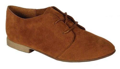 Breckelle's SANDY-31 Basic Classic Lace Up Flat Oxford Shoe,6.5 B(M) US,Premium Tan,6.5 B(M) US