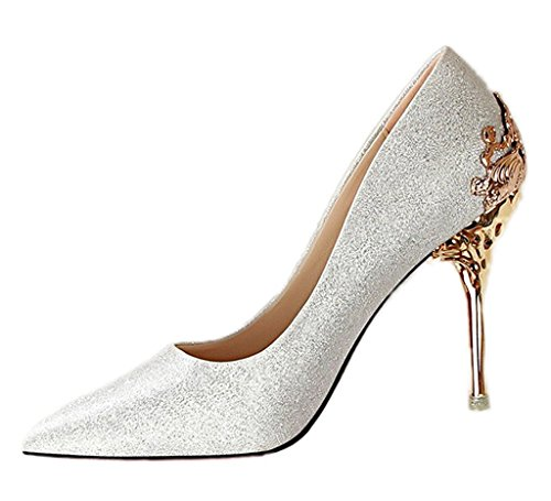 Maybest Women's Ladies Sexy Lace High Heel Shoes Work Evening Party Weeding Bridal Court Shoes Pumps Silver 5 B (M) US (Ankle Strap Dolly Pumps)