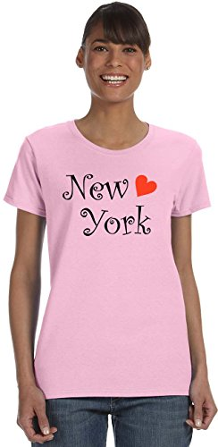 Womens Pink T-shirt York New (S.Horizon-New York on Women's T-Shirt~Light Pink~Womens-3X)