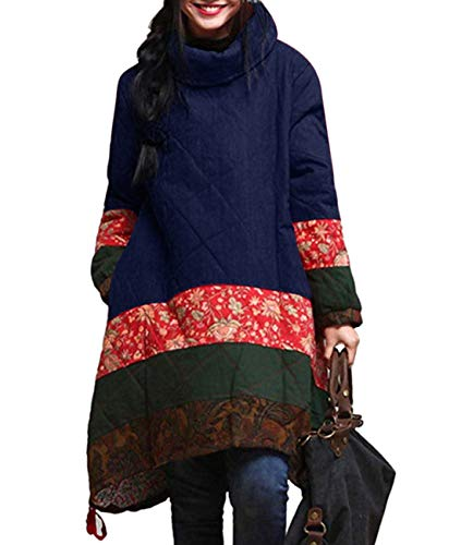 YESNO A180 Women Rural Style Vintage Color Pattern Jointed Women Quilted Coat Jacket Pocket ()