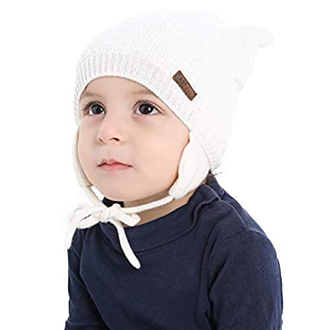 d525be9ca2a Amazon.com  XIAOHAWANG Baby Hat Cute Bear Toddler Earflap Beanie Warm for  Fall Winter  Clothing