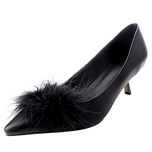 Heel Leather Kitten Toe Pointed Latasa Faux Fur Black Faux Pumps Womens qwxOFA