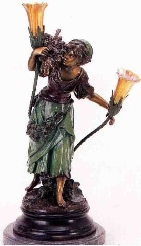 "31""H ""Woman with Wood"" Distinctive Solid Bronze Sculptural Lamp by A. Moreau"