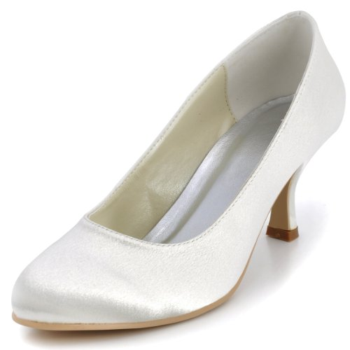 ElegantPark EP11011 Women Pumps Mid Heel Closed Toe Satin Bridal Wedding Shoes Ivory US 9 Cream Satin Shoes