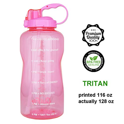 QuiFit 128oz Portable Drinking Straw Daily Water Bottle Sport Water Jug Gallon BPA Free Non Leak Design with Time Marked to Ensure You Drink Enough of Water Throughout The ()