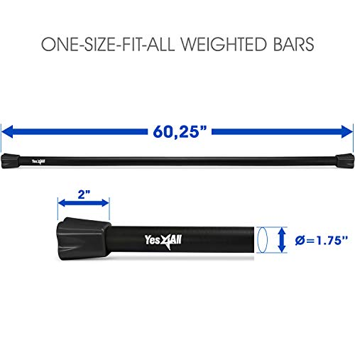 Yes4All Total Body Workout Weighted Bar/Weighted Workout Bar – Great for Physical Therapy, Aerobics and Yoga – Weighted Exercise Bar (30 lbs) by Yes4All (Image #1)