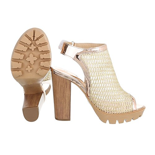 Ital peep Donna Gold Scarpe toe Design nnOWS