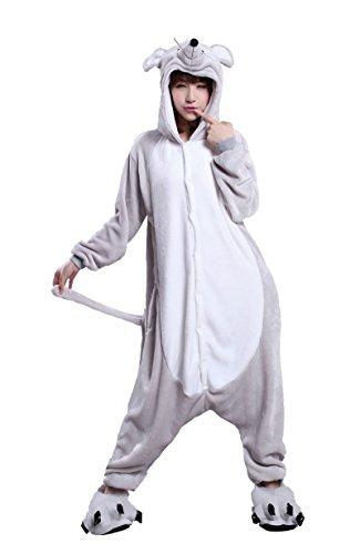 Rat Halloween Costume (FashionFits Unisex Hoodie Jumpsuit Mouse Costume Pyjama Cosplay Sleepcoat)