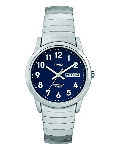 (Timex Men's T20031 Easy Reader Silver-Tone Stainless Steel Expansion Band Watch)