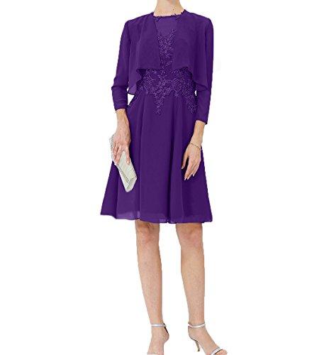 Knielang Brautmutterkleider mit Lila Charmant Jaket Chiffon Abendkleider Partykleider Damen Partykleider Festlichkleider I8q1w5qvU