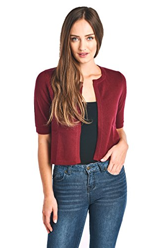 Mariyaab Women's 100% Cashmere Short Sleeve Cropped Open Cardigan Sweater (17617, Burgundy, L)