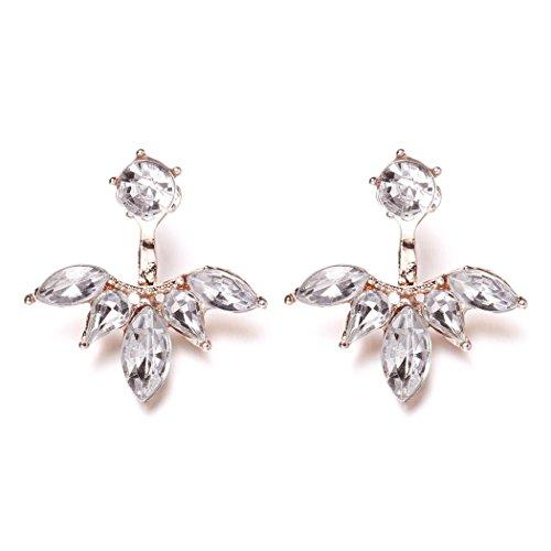 New Women hot Fashion Elegant Rhinestone Crystal Ear Stud Earrings New HOT 2017 sale 2017 (rose (New Elegant Ladies Crystal)