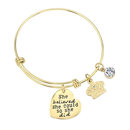 Dec.bells Inspirational Charm Bracelets with Heart Crown Expendable Bangles Gold Plated Jewelry Birthday Gifts Women Girls (She Believe 14K) ()