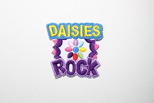 FUN PATCHES - DAISIES ROCK - IRON-ON PATCH/BADGE (7 Patches)