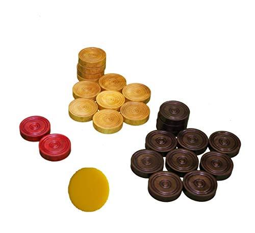 MSM Tournament Premium Wooden carrom Combo 1 Set Coins  1 Acrylic Strikers