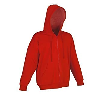87857d3c6716 Hooded Sweatshirt - Plain Zipped Red Cotton Hooded Jacket   Hoody   Hoodie  Size large  Amazon.co.uk  Clothing