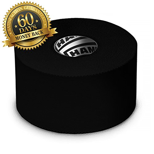 Black Athletic Tape - 45ft per Roll - No Sticky Residue & EasyTear Technology - for Sports Athletes, Trainers & First Aid Injury Wrap: Fingers Ankles Wrist - 1.5 inch x 15 Yards per Roll (3-Pack) by Hampton Adams (Image #1)