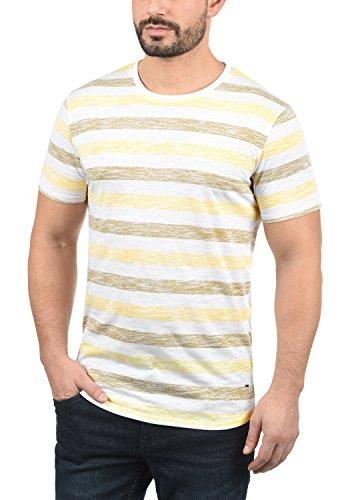 solid Tet Con Cuello Camiseta Hombre Redondo Manga Básica Corta 1005 Para De Yellow Rayas Mellow SqfArndqH