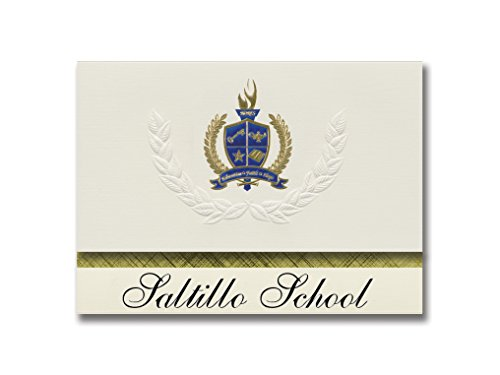 (Signature Announcements Saltillo School (Saltillo, TX) Graduation Announcements, Presidential style, Elite package of 25 with Gold & Blue Metallic Foil seal)