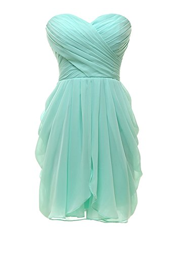 Kiss Dress Short Strapless Prom Dress Soft Chiffon Evening Dress XL Mint