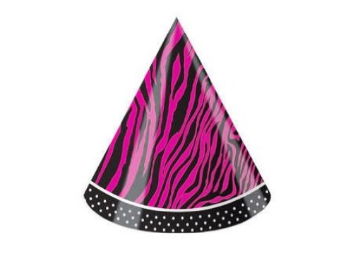 (Creative Converting Pink Zebra Boutique Child Size Birthday Party Hats, 8)