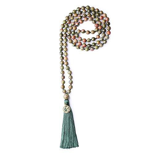 COAI OM Charm Hand Knotted Tassel Unakite Stone 108 Mala Beads Necklace ()