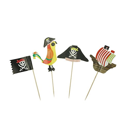 Pirate Cake Cupcake Toppers Food Picks for Party Decorations Set of 20 by GOCROWN]()