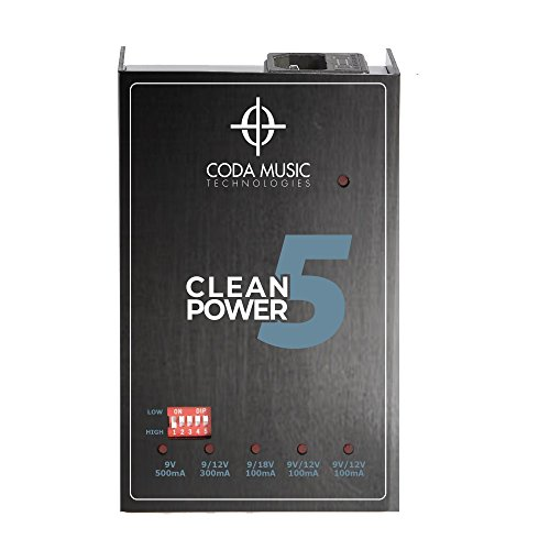 Clean Power 5 Isolated Guitar Pedal Power Supply w/Switchable Voltage by Coda Music Technologies - Pedal Board Power Supply