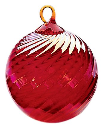 Santa Glass Ball Ornament - Iridescent Glass Eye Studio Hand Blown Ball Ornament, Ruby Twist