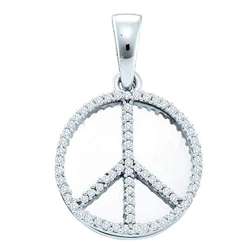 FB Jewels .925 Sterling Silver Womens Round Diamond Peace Sign Circle Disc Pendant 1/4 Cttw (I2-I3 clarity; H-I color)