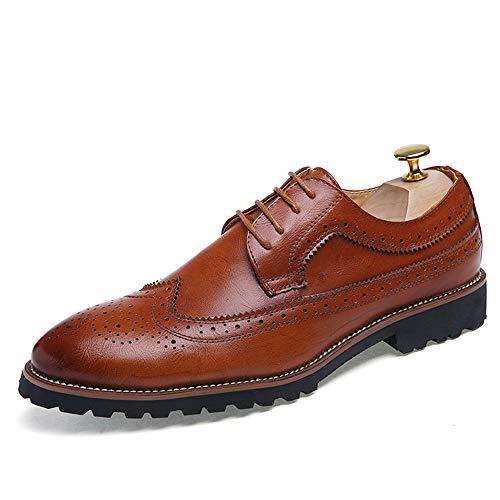 Marron 43 EU CHENDX Chaussures, Chaussures à Lacets de Loisirs pour Hommes à la Mode de Couleur Unie Oxford à Talons Plats (Couleur   Marron, Taille   43 EU)