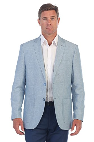 Gioberti Mens Linen Sports Coat Suit Jacket, Blue, Size 42 Regular