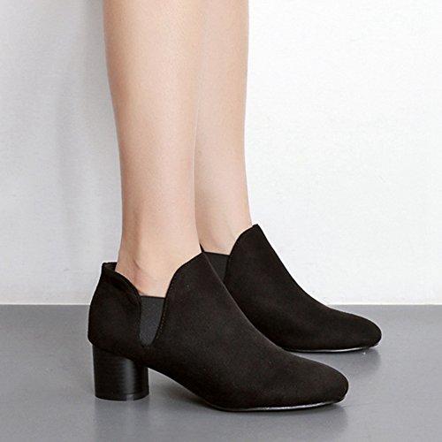 Giy Femmes Élégant Panneau Latéral Élastique Cheville Équitation Chelsea Bottines Chaussures En Daim Bottes Courtes Noir