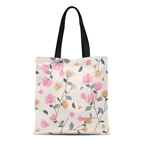 Semtomn Cotton Canvas Tote Bag Pattern of Delicate Pink Floral Blossom Flowering Symbolic Spring Reusable Shoulder Grocery Shopping Bags Handbag Printed